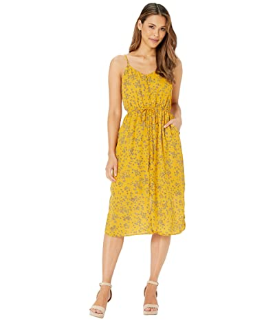 Cupcakes and Cashmere Annabel Tossed Buds Button Front Midi Dress (Harvest Gold) Women