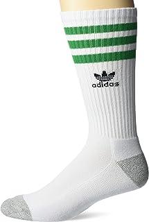 adidas Originals, Roller Crew Socks (1-Pair), White/Heather Aluminum/Green/Black, Large (Mens Shoe Sizes 6-12)