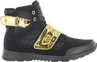 Vlado Footwear Men's Atlas III Black/Gold Knitted Mesh High Top Sneaker US 10.5