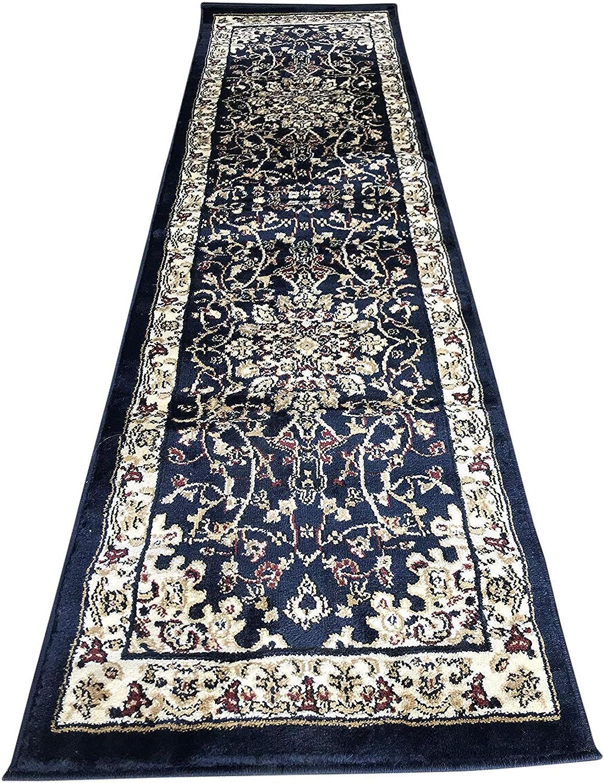 Deir Debwan Traditional Runner Persian Area Rug 330,000 Point Dark bluee Design 603 (2 Feet X 7 Feet 2 Inch)