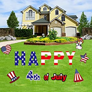 13PCS 4th of July Decor ,4th of July Decorations Outdoor Independence Day Lawn Decorations ,Waterproof Memorial Day Yard Signs With 26 Stakes , Fourth of July Decorations for Patriotic Party