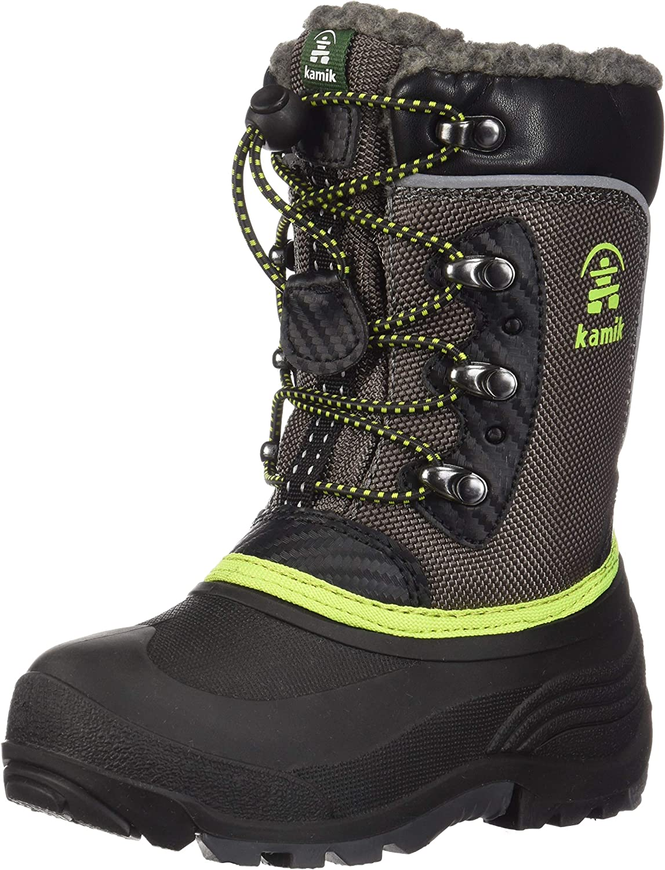 Kamik Kids' Luke Snow Boots Charcoal/Lime