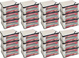 Kuber Industries 24 Piece Non Woven Saree Cover Set, Ivory ,CTKNEW164