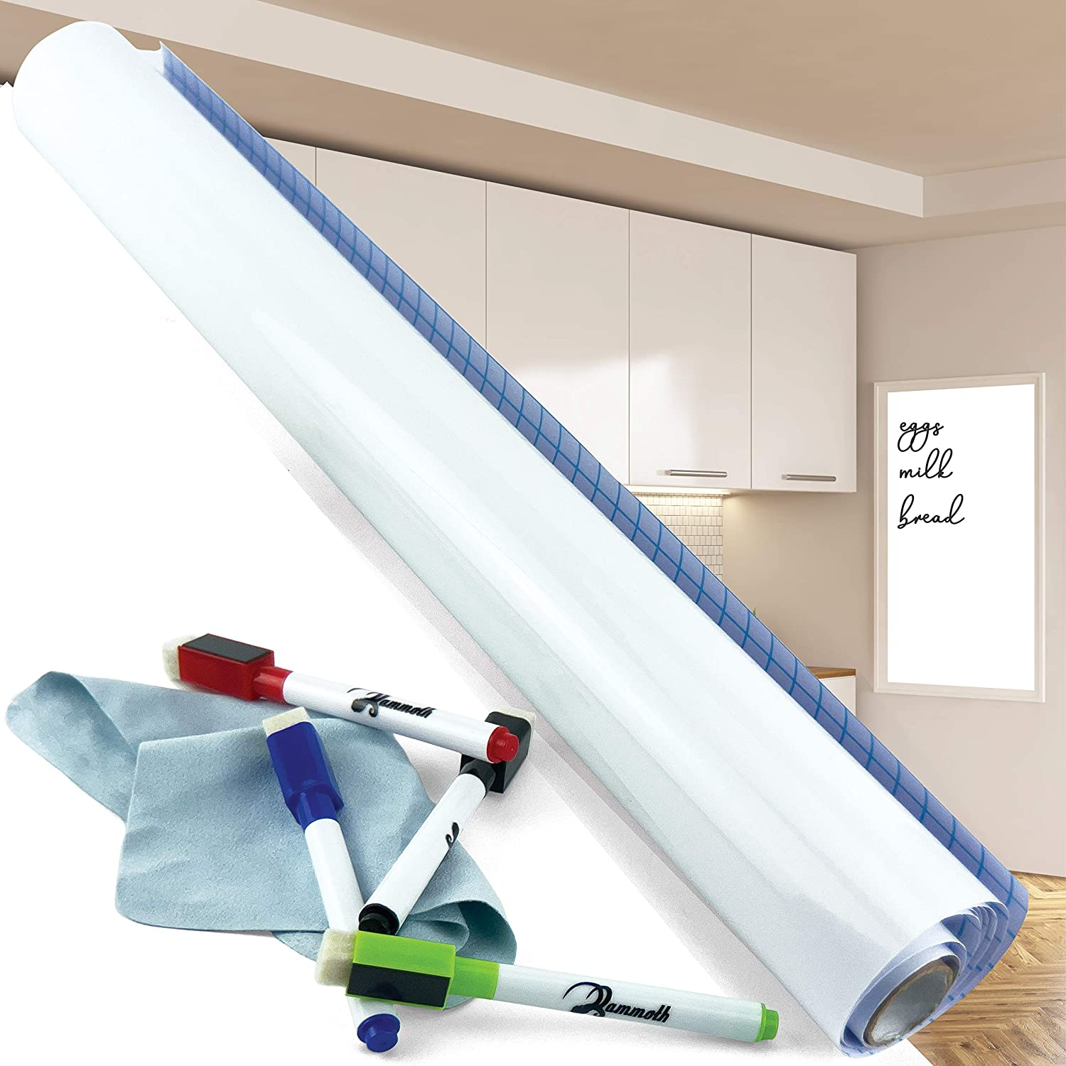 Mammoth Ranking TOP8 Adhesive Whiteboard Very popular! Wall Sticker Kit with 4 Ma Dry Erase