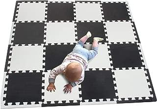 MQIAOHAM Floor Mats 16 Pieces +16 Edges EVA Puzzle Tiles Set – Floor Protector, Surface Protection | Perfect Underlay Mat for Sports, Exercise – Gym, Basement, Garage, Workshop White Black 101104Z16