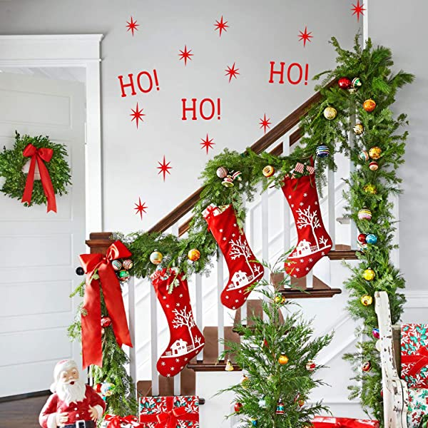 Vinyl Wall Art Decal Ho Ho Ho And Stars 22 X 22 Christmas Seasonal Decoration Sticker Indoor Outdoor Window Home Living Room Bedroom Apartment Office Door Decor 22 X 22 Red