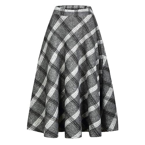 30eaf48bef IDEALSANXUN Womens High Elastic Waist Maxi Skirt A-line Plaid Winter Warm  Flare Long Skirt