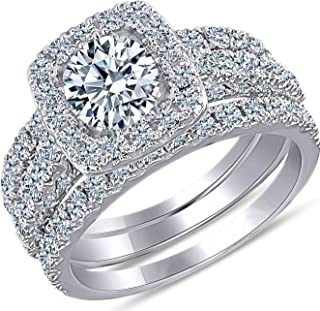 Beverly Hills Jewelers 2.00 Carat Total Weight IGI Certified Diamond Engagement Ring in 14 Karat White Gold Stunningly Hand Crafted (SIZABLE)