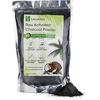 Activated Charcoal Powder 1LB by Sagano - Food Grade Coconut Charcoal Toothpaste, Natural Teeth Whitening Solution, Body Detox, Skin Cleanser, DIY Peel Off Mask, Blackead Remover. 9-12 Months