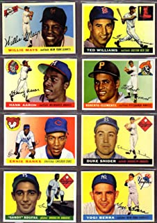 1955 Topps Baseball (8) Card Reprint Lot (Willie Mays) (Sandy Koufax Rookie) (Roberto Clemente Rookie) (Ted Williams) (Hank Aaron) (Duke Snider) (Yogi Berra) (Ernie Banks)