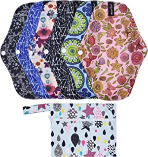 Aneercare Reusable Pads Menstrual Pads Super Absorbent, Washable, Soft and Comfortable-6 Pads, 1 Mini Wet Cloth Bag.