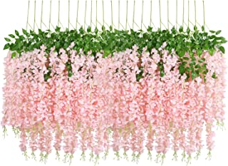 U'Artlines 24 Pack 3.6 Feet/Piece Artificial Fake Wisteria Vine Ratta Hanging Garland Silk Flowers String Home Party Wedding Decor Extra Long and Thick (24, Light Pink)