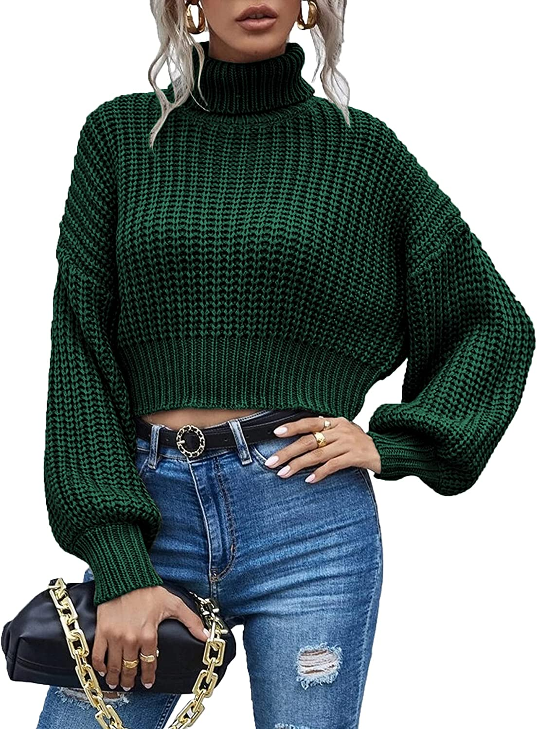 Chigant Women's Turtleneck Knit Sweaters Casual Lantern Long Sleeve Pullover Cropped Cute Jumper Drop Shoulder Top