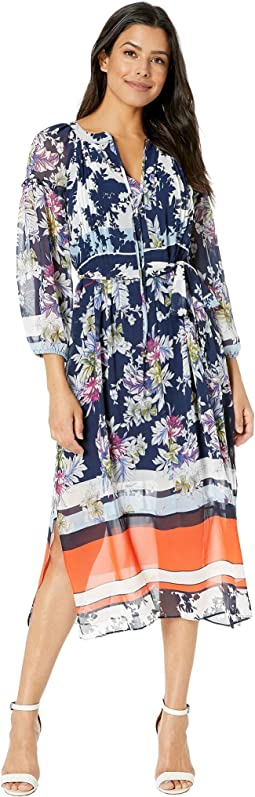 Printed Floral Long Sleeve Chiffon Maxi Dress