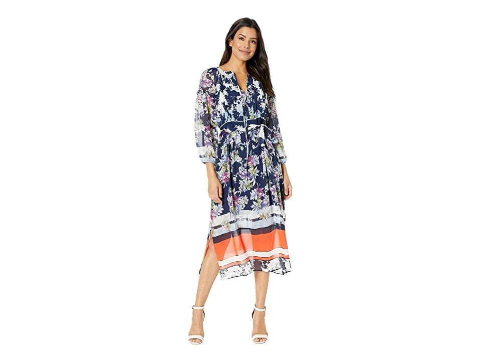 Taylor Printed Floral Long Sleeve Chiffon Maxi Dress (Navy/Cayman Blue) Women