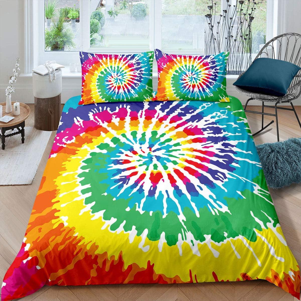 Erosebridal Tie Dye Bedding Albuquerque Mall Sales results No. 1 Size Queen Colorful Rainbow