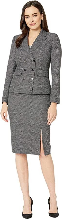 Double Brested Skirt Suit with Flap Pocket