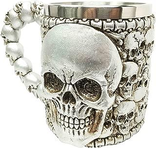 Silver Ossuary Graveyard Skull Heap Death Mountain Beer Stein Tankard Coffee Cup Mug