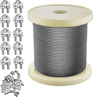 1/16 Inch Wire Rope Kit,Cozysmart 328 Feet Stainless Steel T316 Wire Aircraft Cable with 50 PCS Aluminum Crimping Loop and...