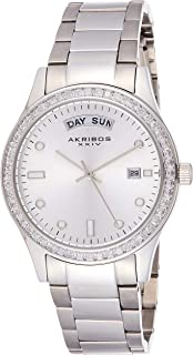 Akribos XXIV Women's Swiss Quartz Date Watch - Baguette Crystal Studded Bezel - Sunburst Dial with Luminous Markers - Stainless Steel Bracelet AK691