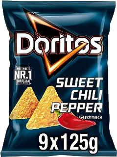 Doritos Sweet Chili Pepper – Tortilla Nachos mit süßem Chili- Geschmack – Herzhafter Snack zum Knabbern aus Mais – 9 x 125g