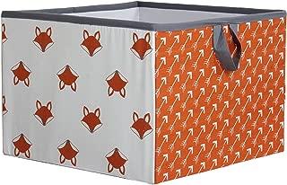 Bacati Playful Foxs Storage Box, Orange/Grey, Large