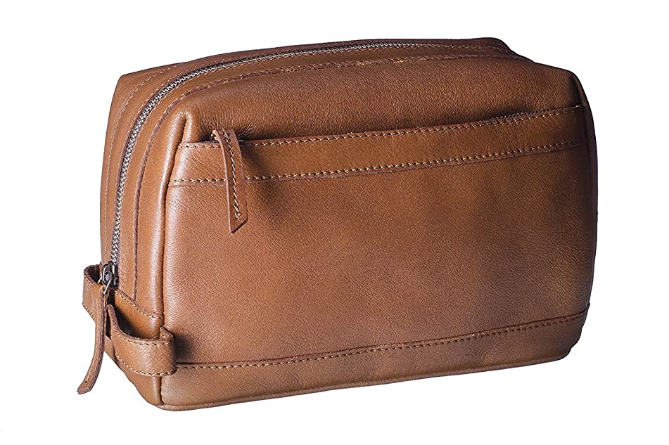 Dwellbee Premium Top Grain Leather Toiletry Bag and Dopp Kit with TSA Approved LokSak Waterproof Bag (Buffalo Leather, Brown)