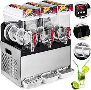 Happybuy 110V Commercial Slushy Machine 500W Stainless Steel Margarita Smoothie Frozen Drink Maker Suitable Perfect for Ice Juice Tea Coffee Making, 15L x 3 Tank, Sliver