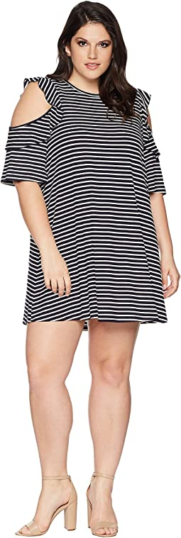 Plus Size Katalina Cold Shoulder Striped Dress