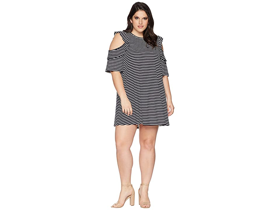 KARI LYN Plus Size Katalina Cold Shoulder Striped Dress (Navy/White) Women