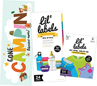 Camp Labels Value Pack - Write On Name Labels, Waterproof Labels for Camp Basics and Clothing, Includes Gone Campin' Sign and Camp Packing Checklist