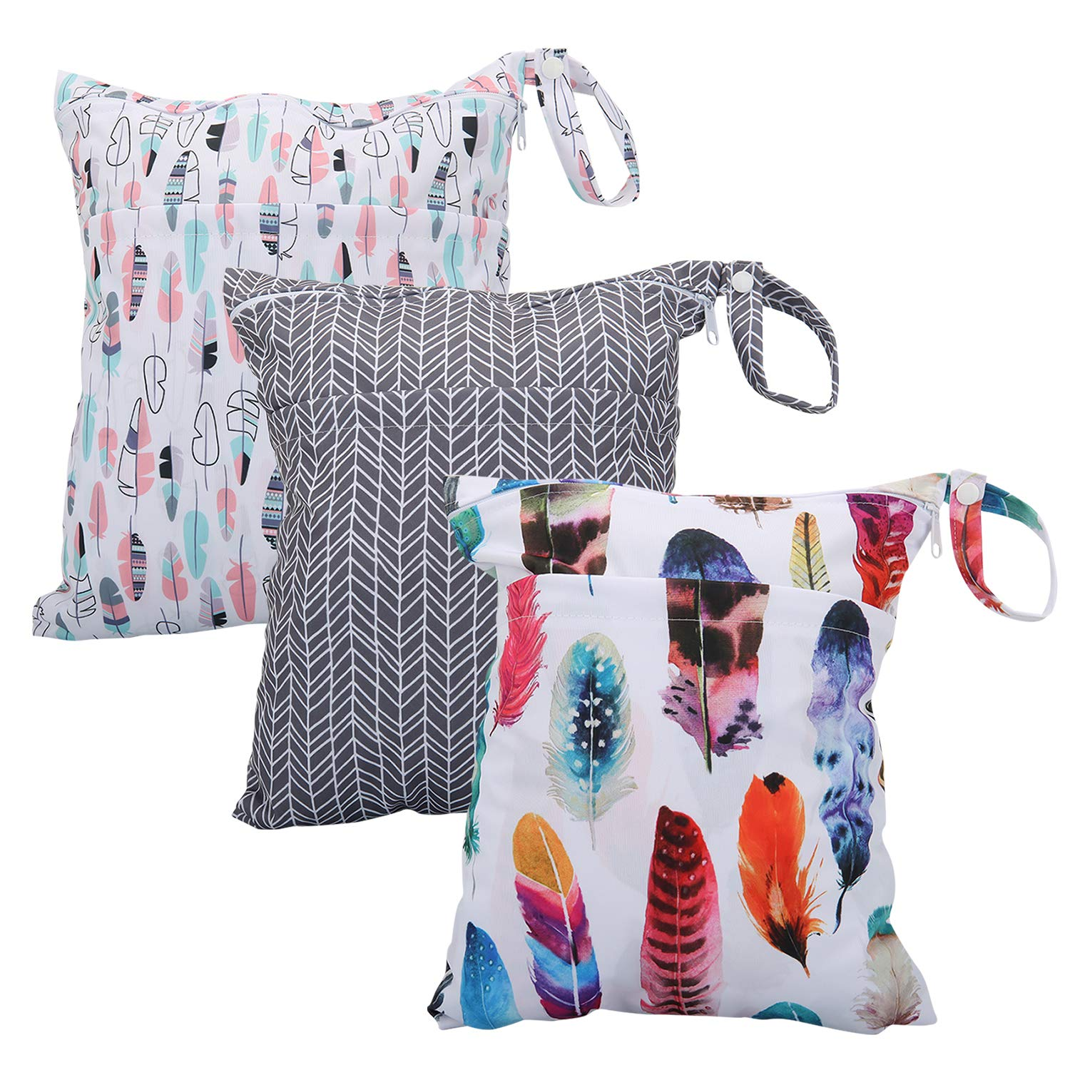 Wet Bag for Cloth Diapers Waterproof Reusable Bags with Two Zippered Pockets Ins Feathers Wet Dry Bag Travel Beach Pool Yoga Gym Bag for Pump Swimsuits Wet Clothes 3pcs
