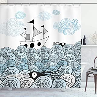 Ambesonne Ocean Shower Curtain, Sealife Sketchy Swirl Like Hand Drawn Waves and Boat Image, Fabric Bathroom Decor Set with Hooks, 70 Inches, Baby Blue Light Blue White and Black