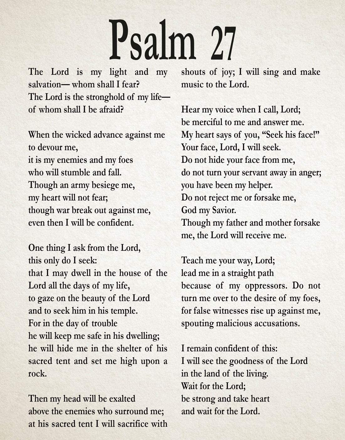 Ranking TOP2 Psalm 27 Print Spasm price Bible Poster Decor Wall Art