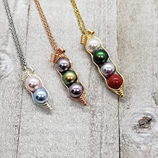 Customize Swarovski Birthstone Pearl Peapod Necklace, Peas in a Pod Necklace, Mom Necklace, Grandma Necklace, Family Necklace, Mother Gife, Grandma Gift, Best Friend Gift, Multicolor Available