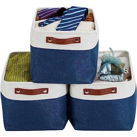 """Decomomomo Lot de 3 paniers de rangement pliables en tissu cationique robuste et pliable avec poignées pour étagère pour chambre d'enfant ou penderie Large - 15 x 11 x 9.5"""" Bleu marine et blanc."""