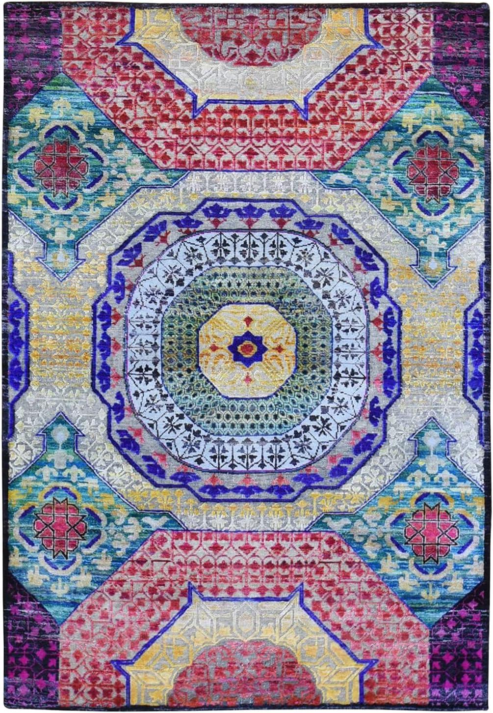 Shahbanu Rugs Sari New Orleans Mall Silk Large discharge sale with Wool Textured Colorfu Design Mamluk