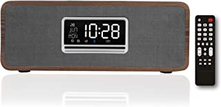 KEiiD Boombox Clock CD Player, Wooden Desktop Speakers Stereo System for Home with FM Radio Bluetooth 5.0 Streaming, 5 EQ ...