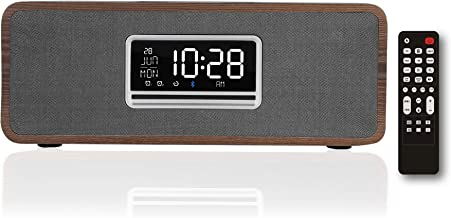 KEiiD Boombox Clock CD Player, Wooden Desktop Speakers Stereo System for Home with FM Radio Bluetooth 5.0 Streaming, 5 EQ Preset USB TF AUX Headphone Jack Sleep Timer