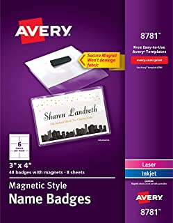 AVERY Secure Magnetic Name Badges, Durable Plastic Holders, Heavy-Duty Magnets, 3 x 4, 48 Badges (8780), Model Number: 8781