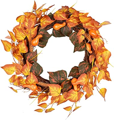 "LSKYTOP Artificial Fall Leave Wreath - 17"" Autumn Door Wreath for Fall and Thanksgiving Festival Decor"