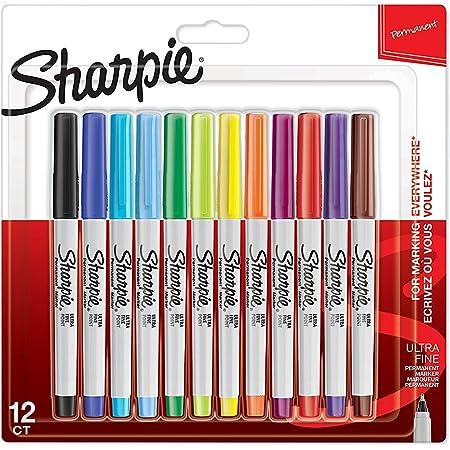 Sharpie marqueurs indélébiles | pointe ultra fine | assortiment de couleurs à encre permanente | Lot de 12