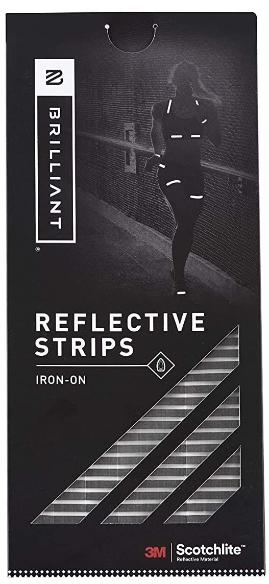 Brilliant Reflective Iron-on Reflective Tape for Clothing - Adhesive Reflective Running Gear Made of 3M Scotchlite Reflective Safety Material - Segmented Pattern - Washable and Waterproof - Pack of 12