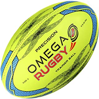 Omega Rugby Precision Training Rugby Ball (Fluoro/Blue, 5 (Age 14+))