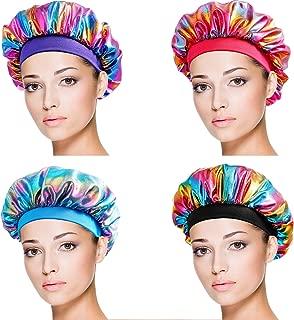 SATINIOR 4 Pieces Soft Satin Sleeping Cap Salon Bonnet Night Sleep Hat Hair Loss Cap (Rainbow Pattern Wide Band)