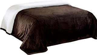 Chezmoi Collection Micromink Sherpa Reversible Throw Blanket (King, Chocolate)