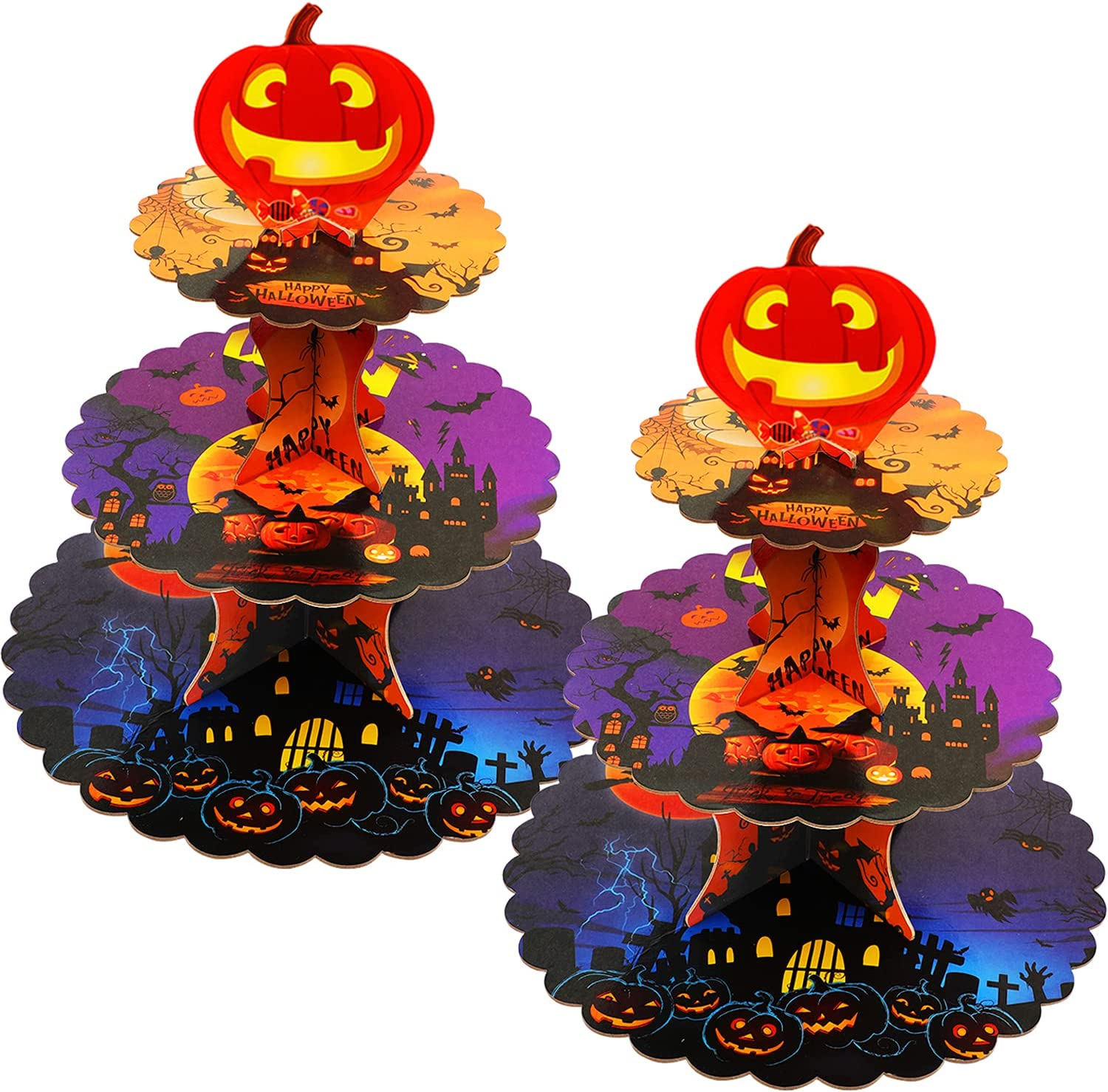 Sawowkuya 2-Set 3-Tier Cardboard Cupcake Stand/Tower,Round Dessert Tree Tower for 24 Cupcakes, Universal for Halloween Themed Party