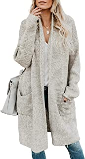 Soulomelody Women Long Cardigan Sweater Open Front Knit Long Sleeve Loose Outwear with Pocket