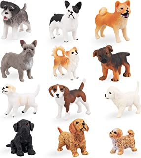 TOYMANY 12PCS Mini Dog Figurines Toy Set, Realistic Detailed Plastic Puppy Figures Playset, Hand Painted Dogs Animals Toy,...