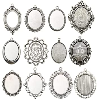 10 Antique Silver 40mm Round Pendant Trays Blanks Bezel Cabochon Cameo Settings